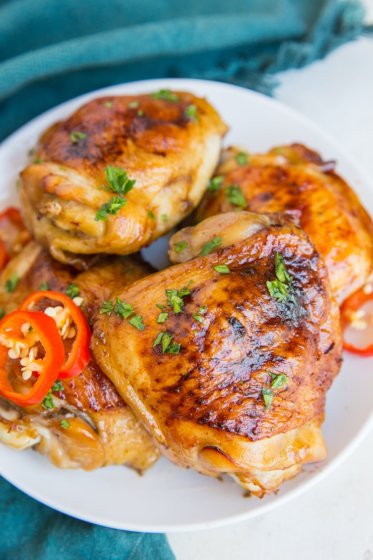 Teriyaki Chicken baked in the oven with few ingredients. A delicious chicken thigh recipe that will rock your world!
