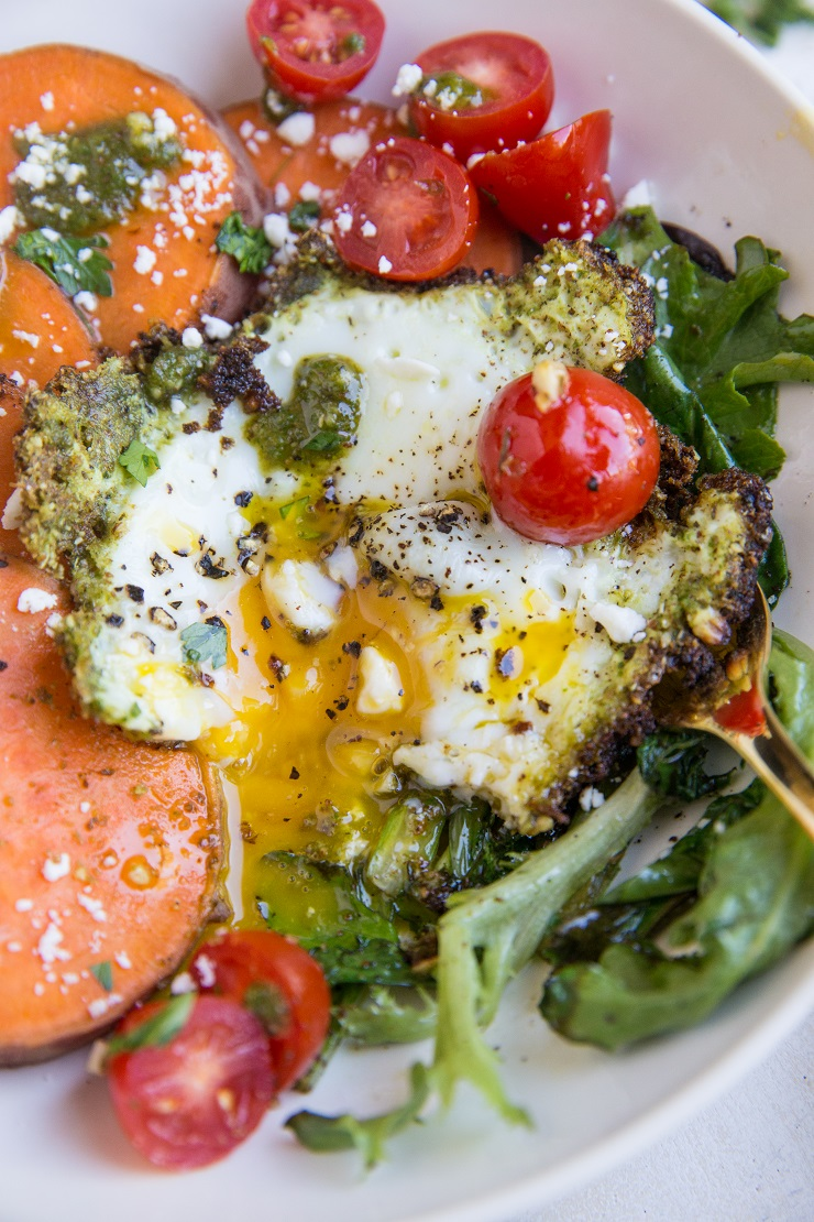 Pesto Eggs with sweet potato and greens is a nourishing way to start the day