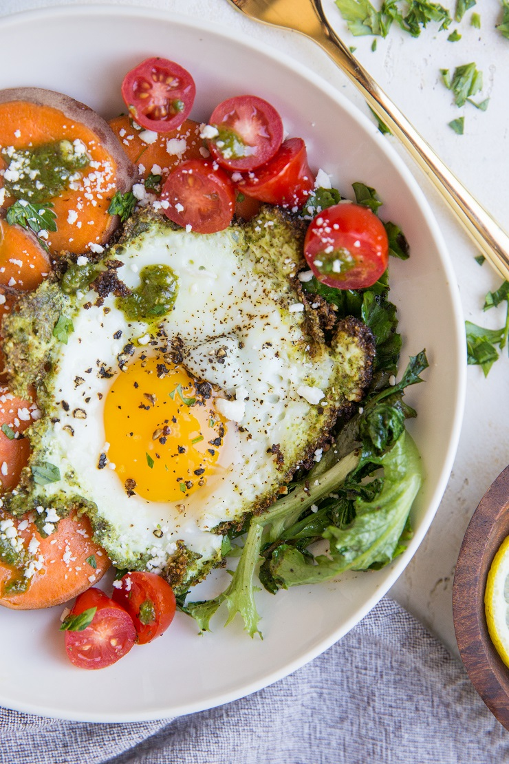 Pesto Eggs Breakfast Bowls - that pesto eggs recipe from TikTok - made into a breakfast bowl with sweet potatoes and greens