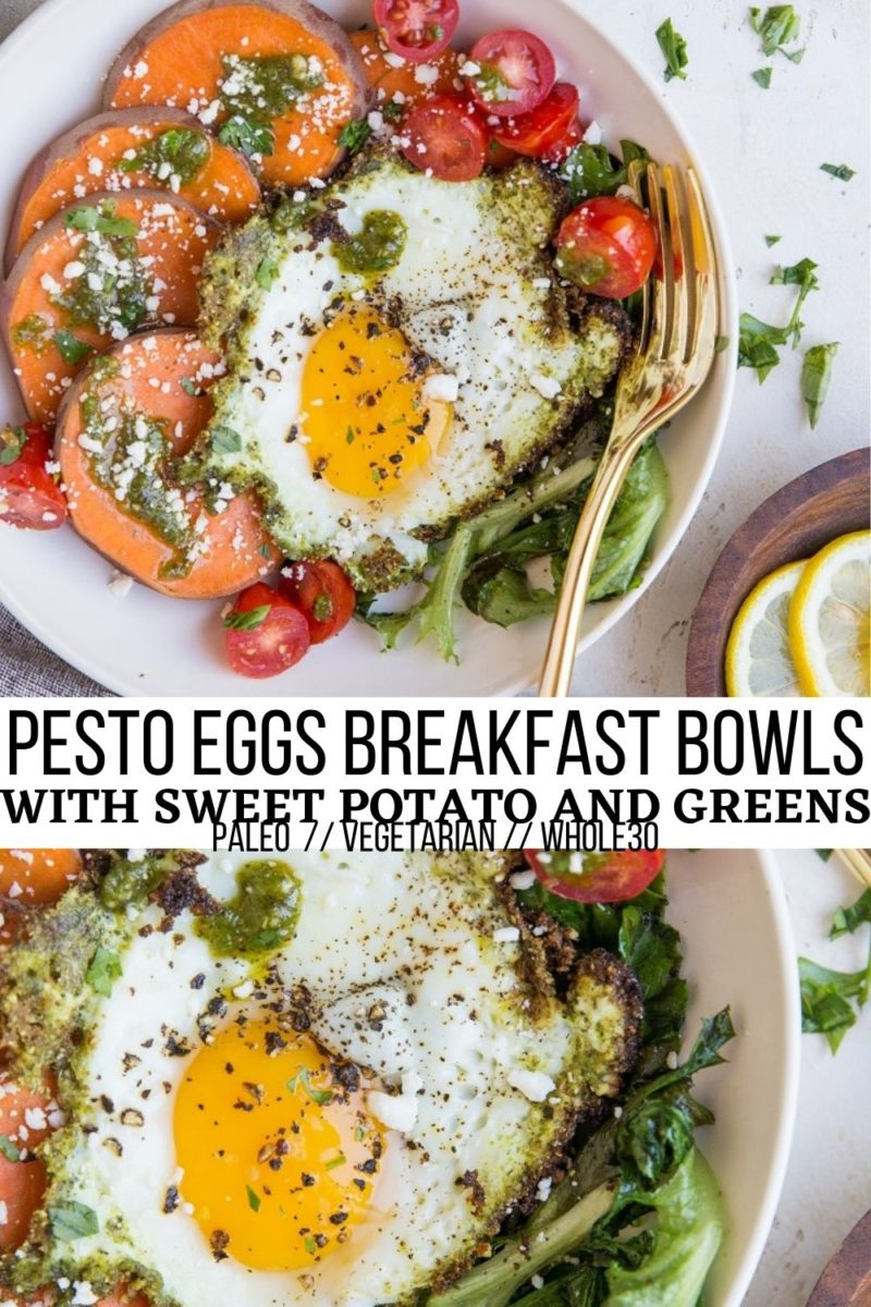 Pesto Eggs Breakfast Bowls with Sweet Potato, greens, feta and cherry tomatoes. A superfood breakfast to fuel the day!