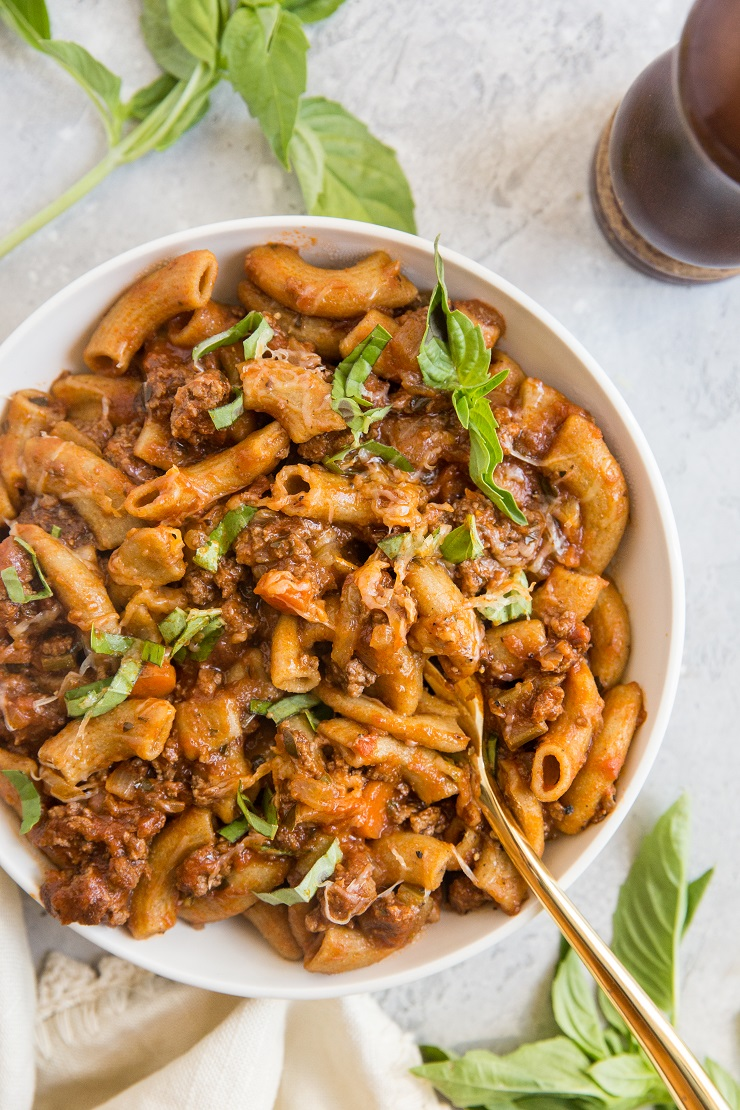 Rigatoni Pasta Recipe with Bolognese Sauce - an easy pasta recipe that's loaded with flavor! This healthier pasta recipe is made with grain-free noodles but you can use any noodle you like.