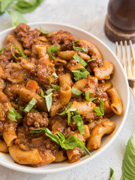 Rigatoni Pasta with Bolognese Sauce - an easy pasta recipe that is grain-free, paleo, gluten-free, and easy to prepare! So incredibly flavorful and satisfying!