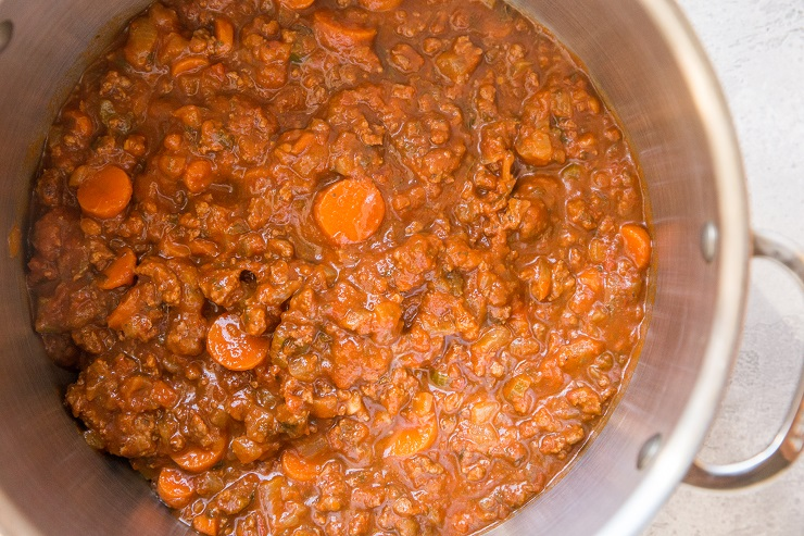 Homemade bolognese sauce with simple ingredients