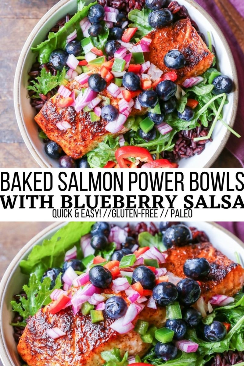 Salmon Power Bowls with Blueberry Salsa, greens, and forbidden rice - a quick, easy, and nutritious dinner recipe that is loaded with flavor!
