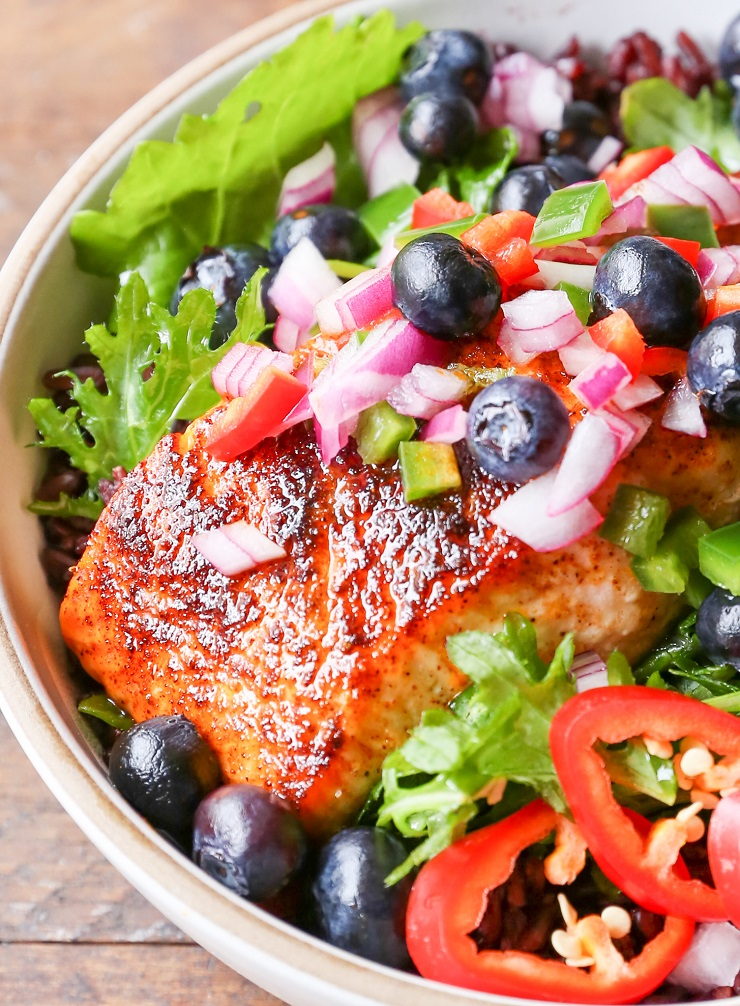 Baked Salmon Power Bowls with Blueberry Salsa, Forbidden Rice, and Greens