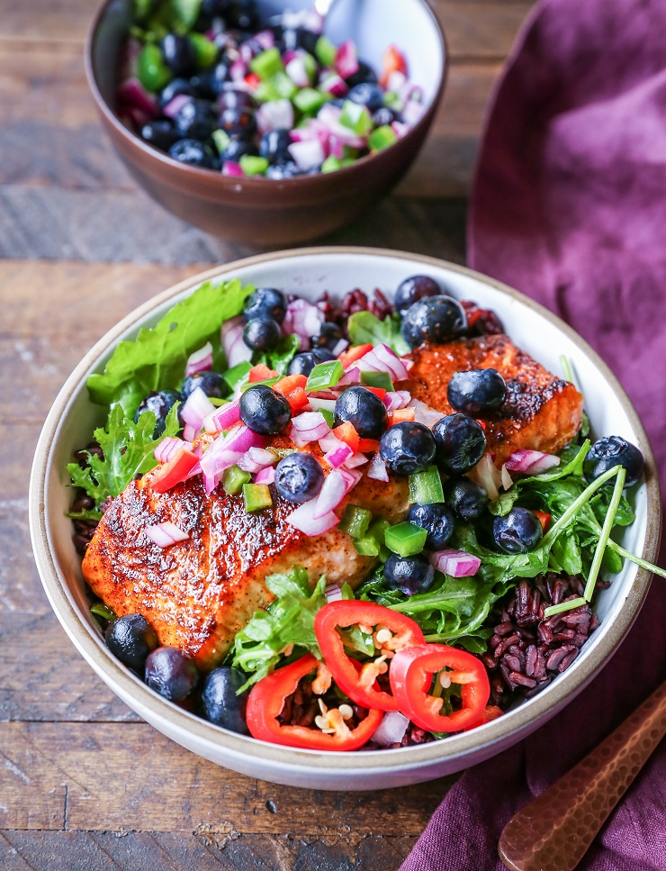 Superfood Salmon Power Bowls with Blueberry Salsa - an amazingly nutrient-dense dinner recipe to keep you satiated