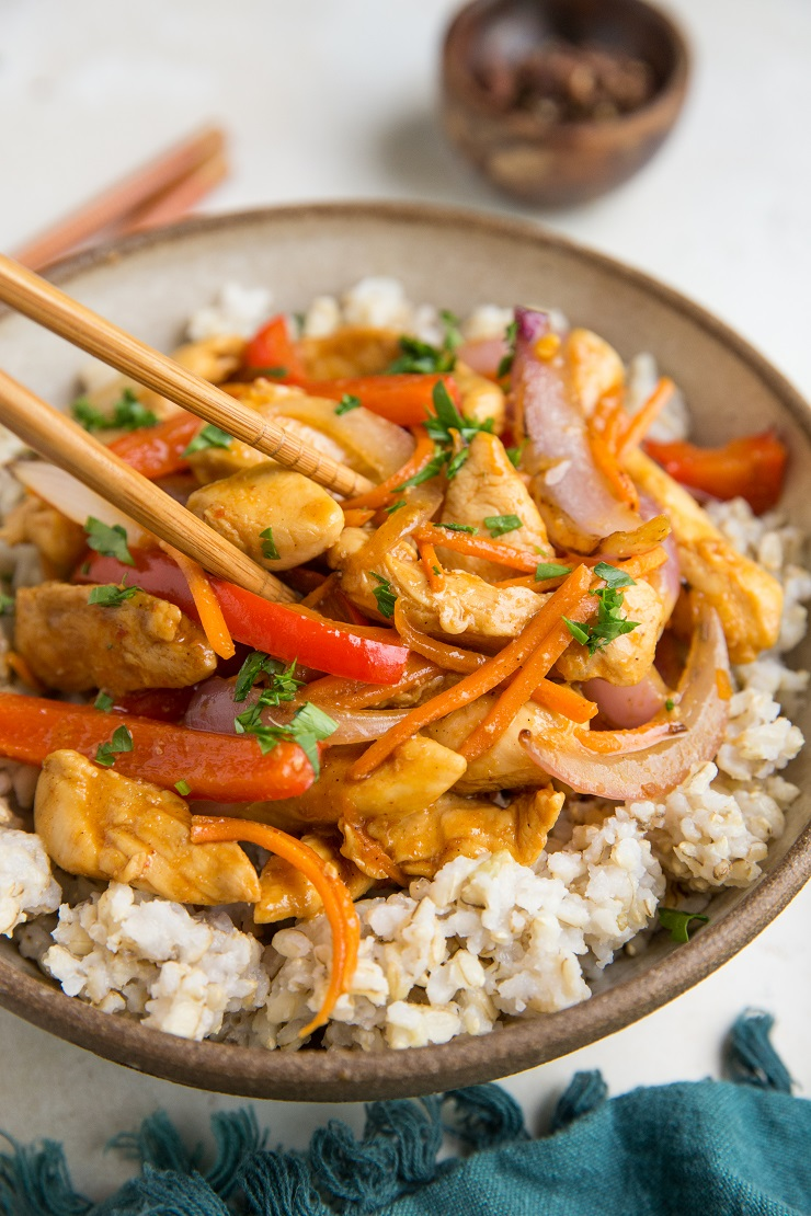 Easy Paleo Szechuan Chicken made soy-free, refined sugar-free, and gluten-free