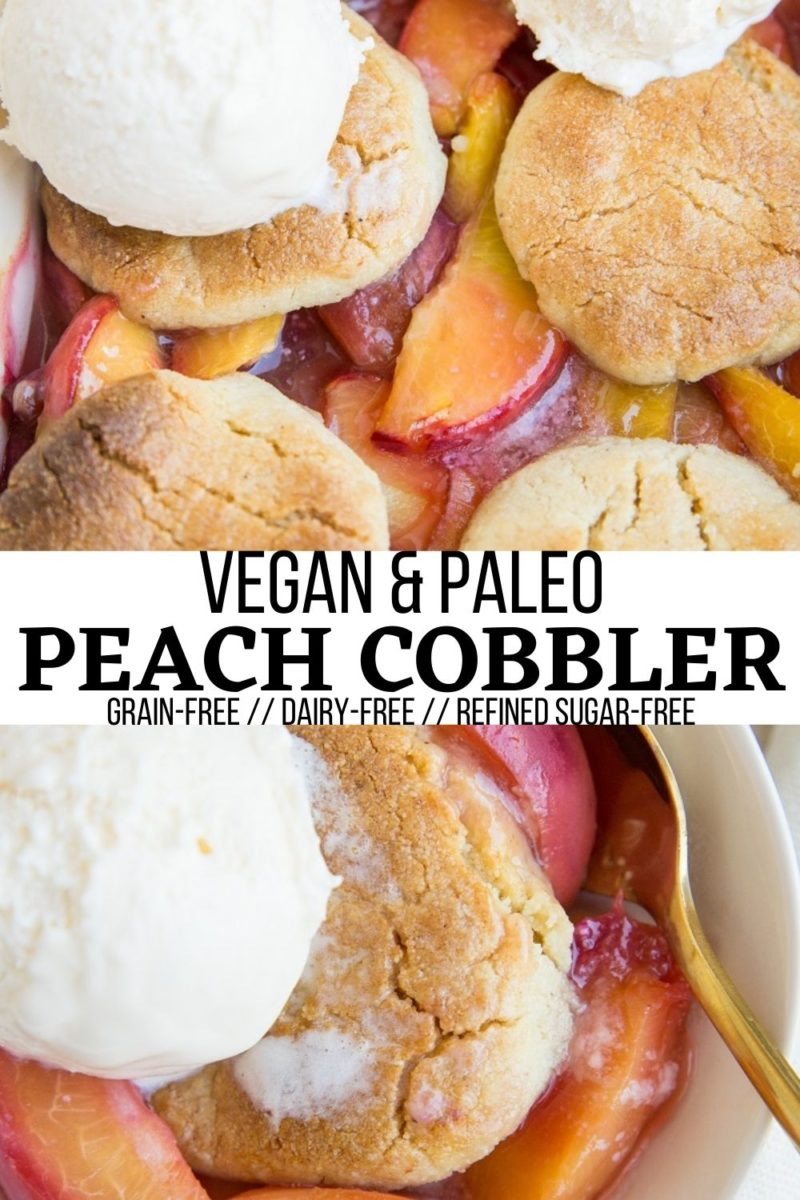 Vegan Paleo Peach Cobbler with almond flour topping and sweetened with pure maple syrup. This easy, healthy summer dessert recipe is grain-free, dairy-free, refined sugar-free and requires only 8 ingredients!