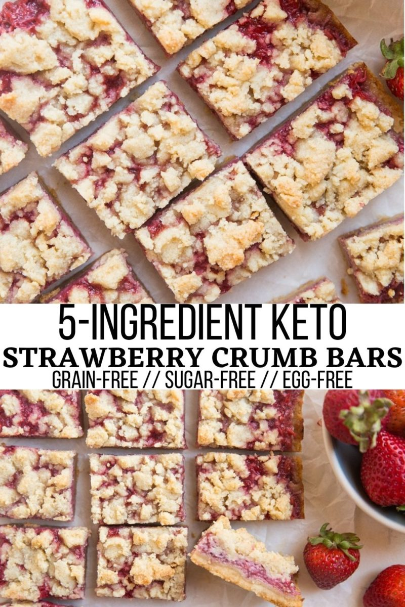 5-Ingredient Keto Strawberry Crumb Bars made egg-free, grain-free, and sugar-free. A perfectly buttery and tangy dessert with a fabulous shortbread crust!