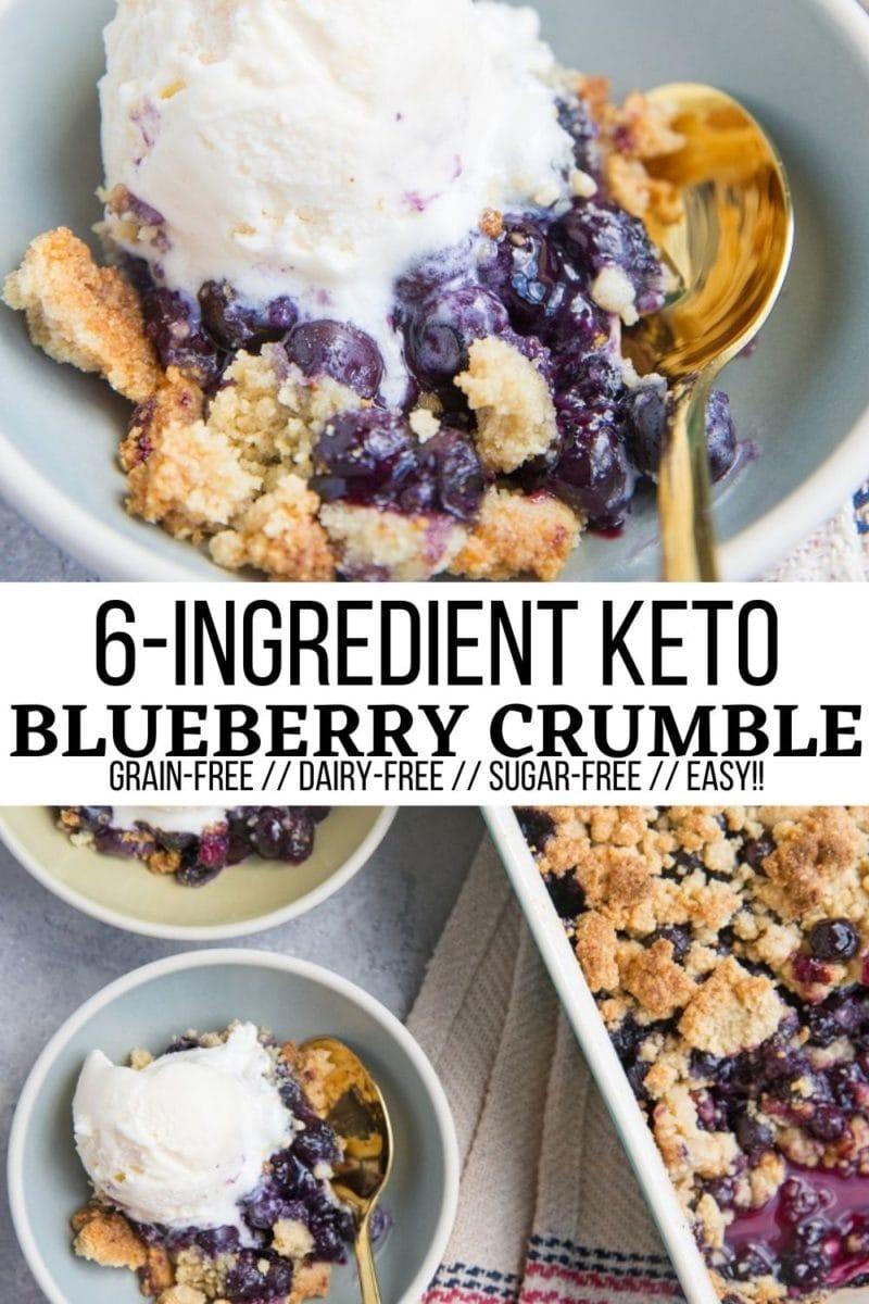 6-Ingredient Keto Blueberry Crumble - grain-free, dairy-free, sugar-free easy crumble recipe that tastes light and refreshing!