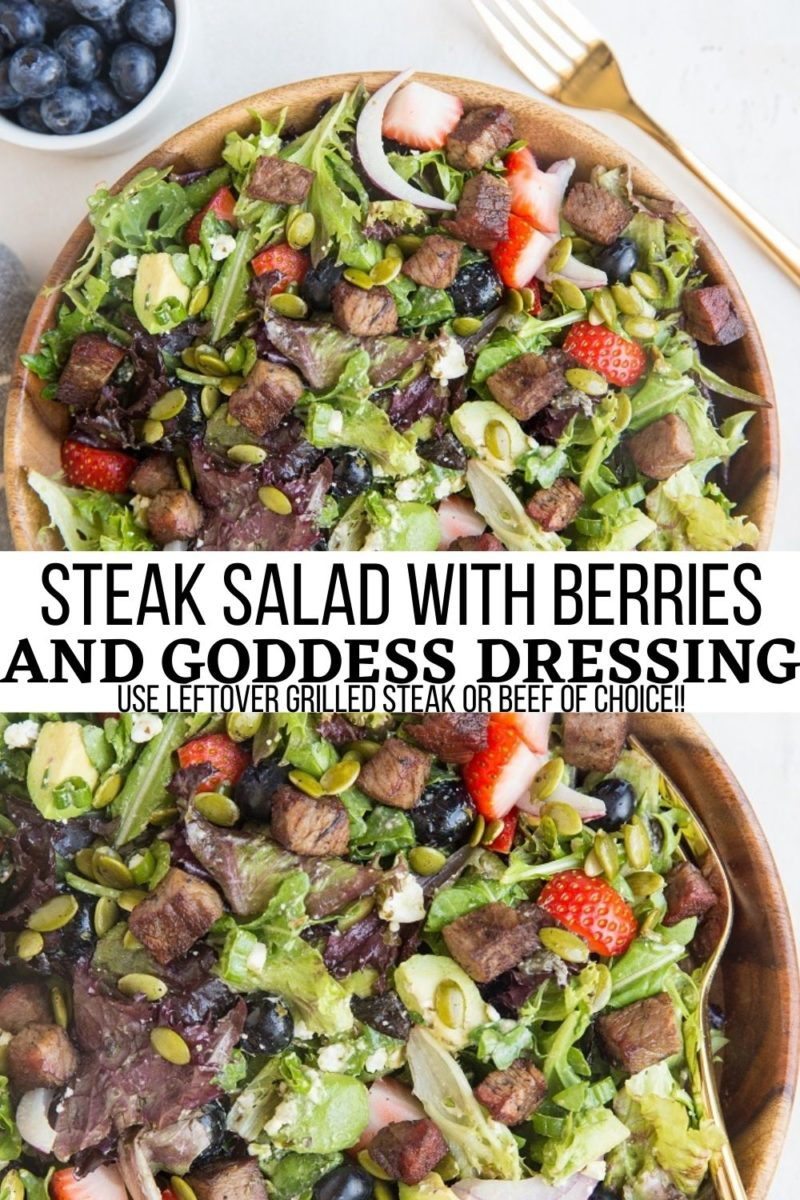 Steak Salad with strawberries, blueberries, avocado, feta cheese, pumpkin seeds, onion, and herby delicious dressing to make you swoon.