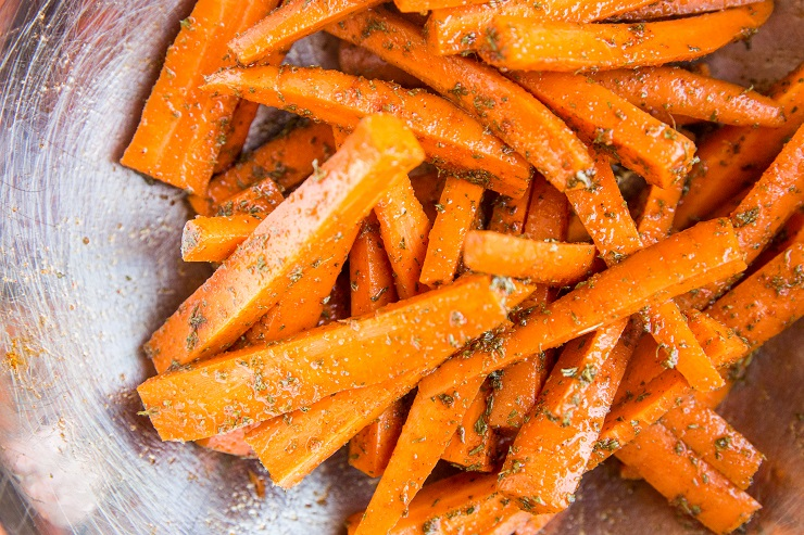 Toss the carrots in avocado oil and seasonings