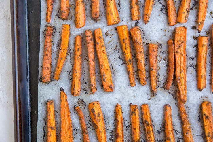 Baked Carrot Fries on a baking sheet