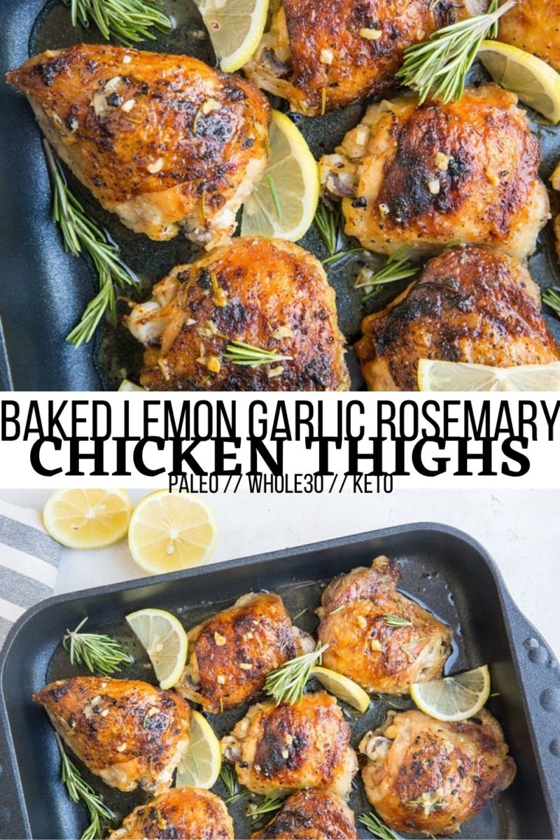 Baked Garlic Lemon Rosemary Chicken - An easy, delicious chicken recipe that yields the most tender chicken with crispy skin. Perfect for serving any night of the week!