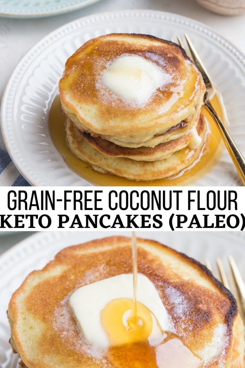 Keto Pancakes with coconut flour are a low-carb, grain-free breakfast loaded with delicious rich flavors. Fluffy, moist, amazing! You'd never guess these amazing pancakes are grain-free!