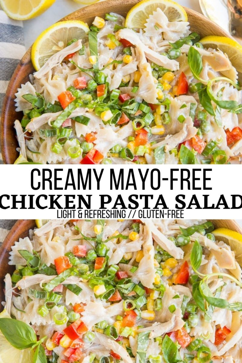 Creamy Chicken Pasta Salad - Light, refreshing mayo-free chicken pasta salad with fresh veggies is a marvelous main entree for summer or side dish. #glutenfree #pasta #pastasalad #chicken #chickenrecipes