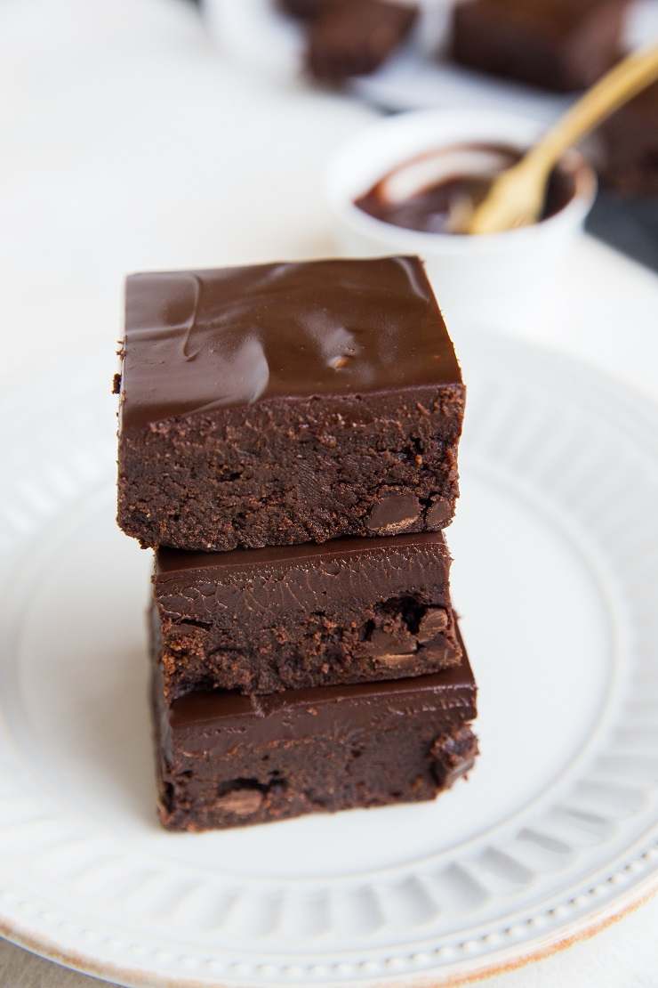 Keto Triple Chocolate Fudge Brownies with chocolate ganache - sugar-free, low-carb, rich and delicious!