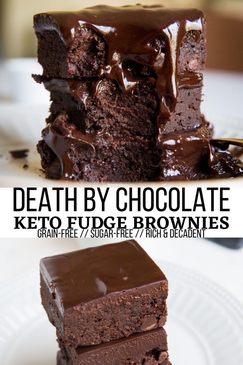 Death by Chocolate Keto Brownies made grain-free and sugar-free. Wildly rich, decadent, and amazing!
