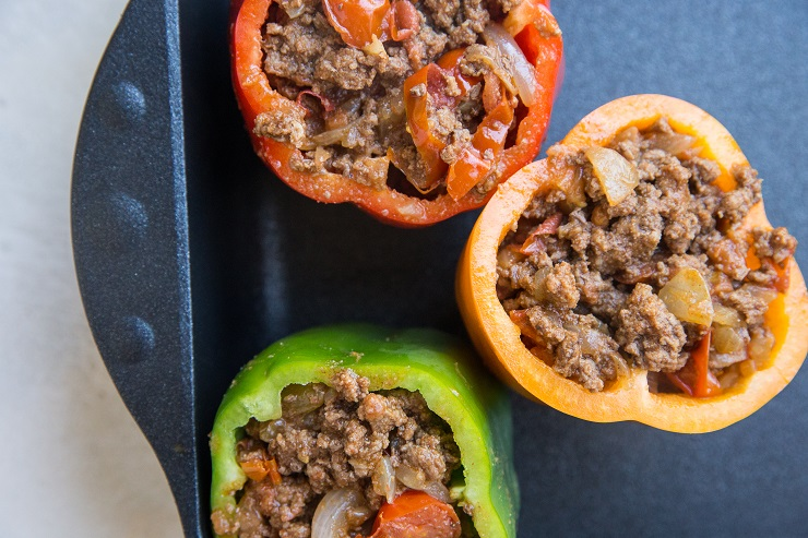Stuff the peppers with ground beef mixture