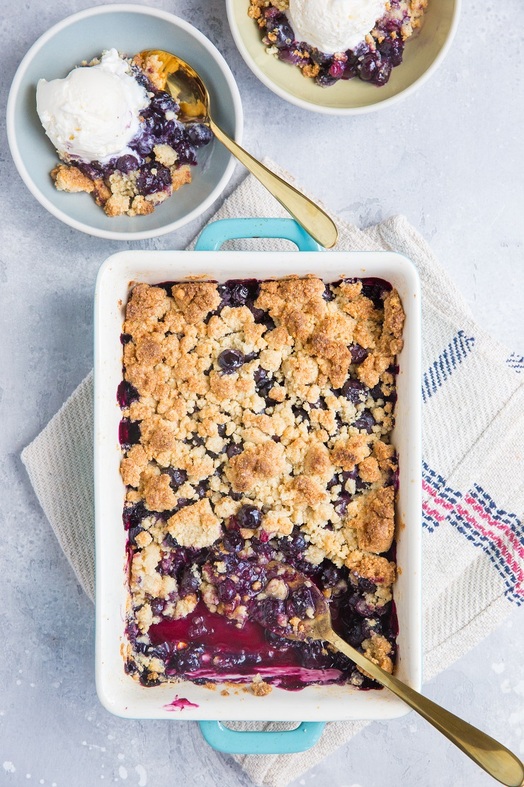 Keto Blueberry Crumble - easy 6-Ingredient fruit crumble recipe made grain-free, sugar-free, and dairy-free for a lower-carb dessert recipe. The crumble topping is everything here!
