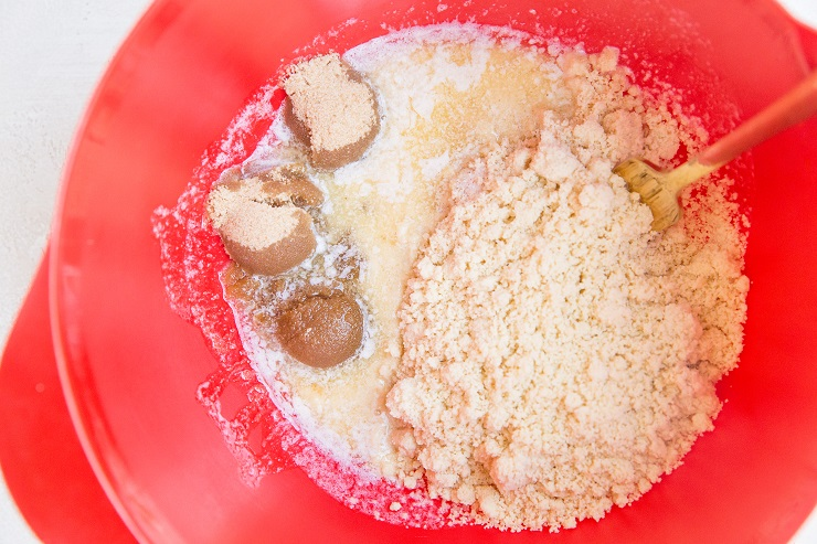 Ingredients for crumble topping in a mixing bowl