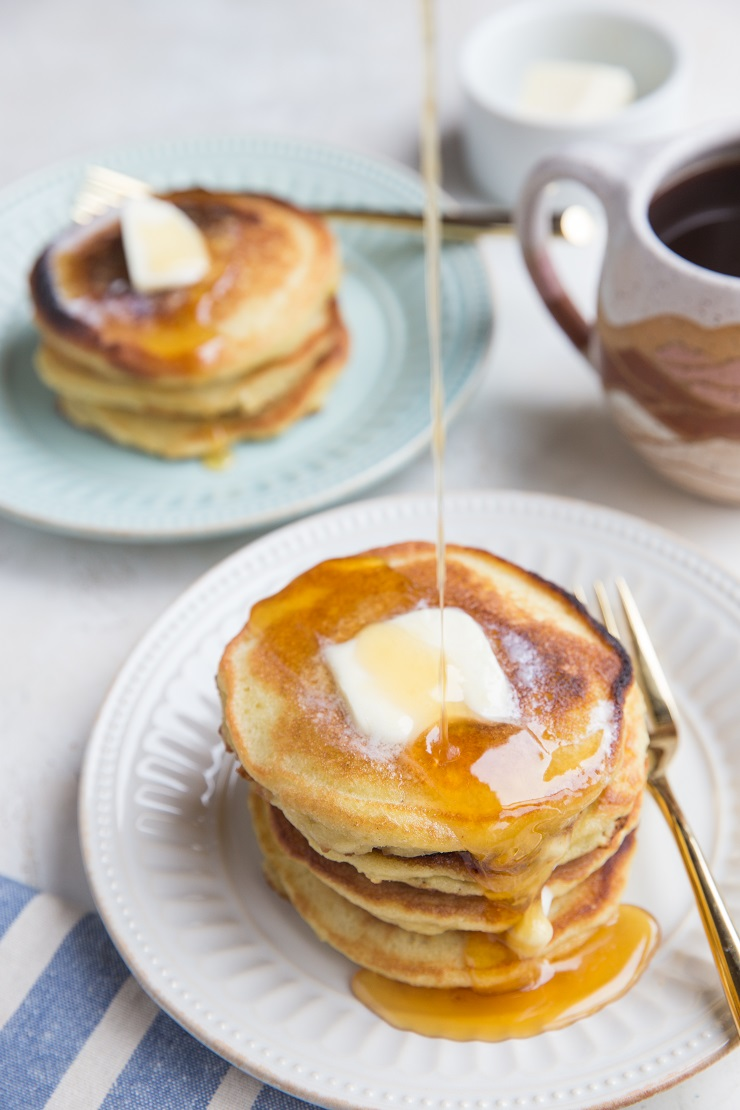 Delicious, fluffy Coconut Flour Pancakes are low-carb and perfect for a ketogenic diet