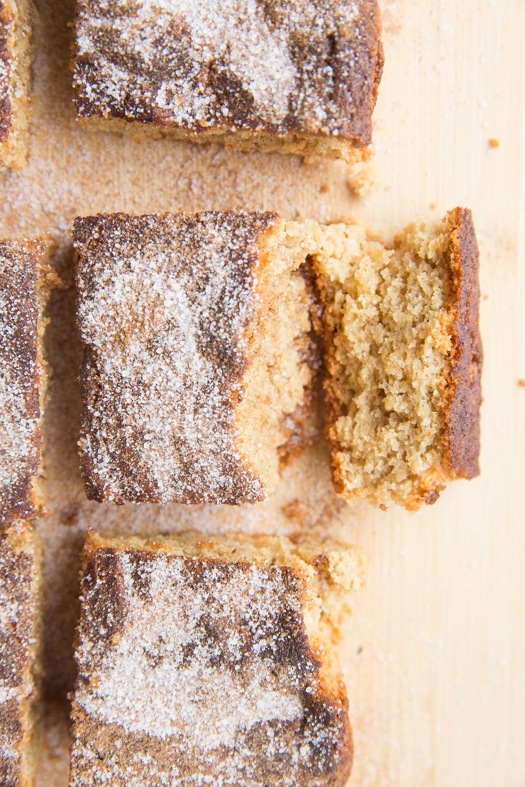 Chewy, delicious keto snickerdoodle cookie bars made with almond flour and sugar-free sweetener