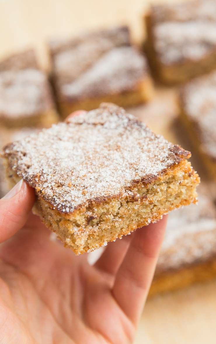 Grain-Free Sugar-Free Low-Carb Snickerdoodle Cookie Bars made with almond flour and sugar-free sweetener