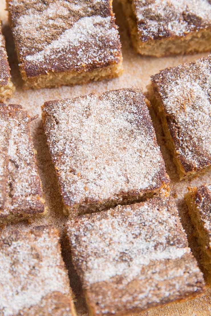 Keto Snickerdoodle Bars - cinnamon and sugar cookie bars that are grain-free and sugar-free. Buttery and delicious