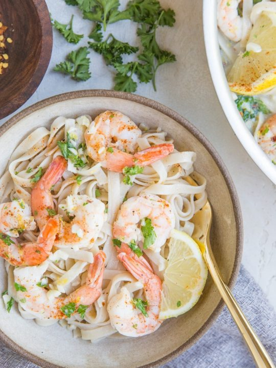 Creamy Lemon Garlic Shrimp Pasta made gluten-free and dairy-free! This zesty, luscious, comforting easy pasta recipe comes together quickly for any night of the week!