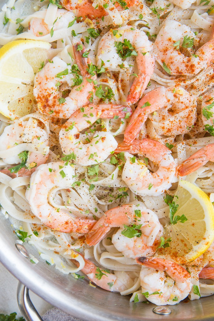 Quick and easy shrimp scampi with a creamy dairy-free garlic lemon sauce