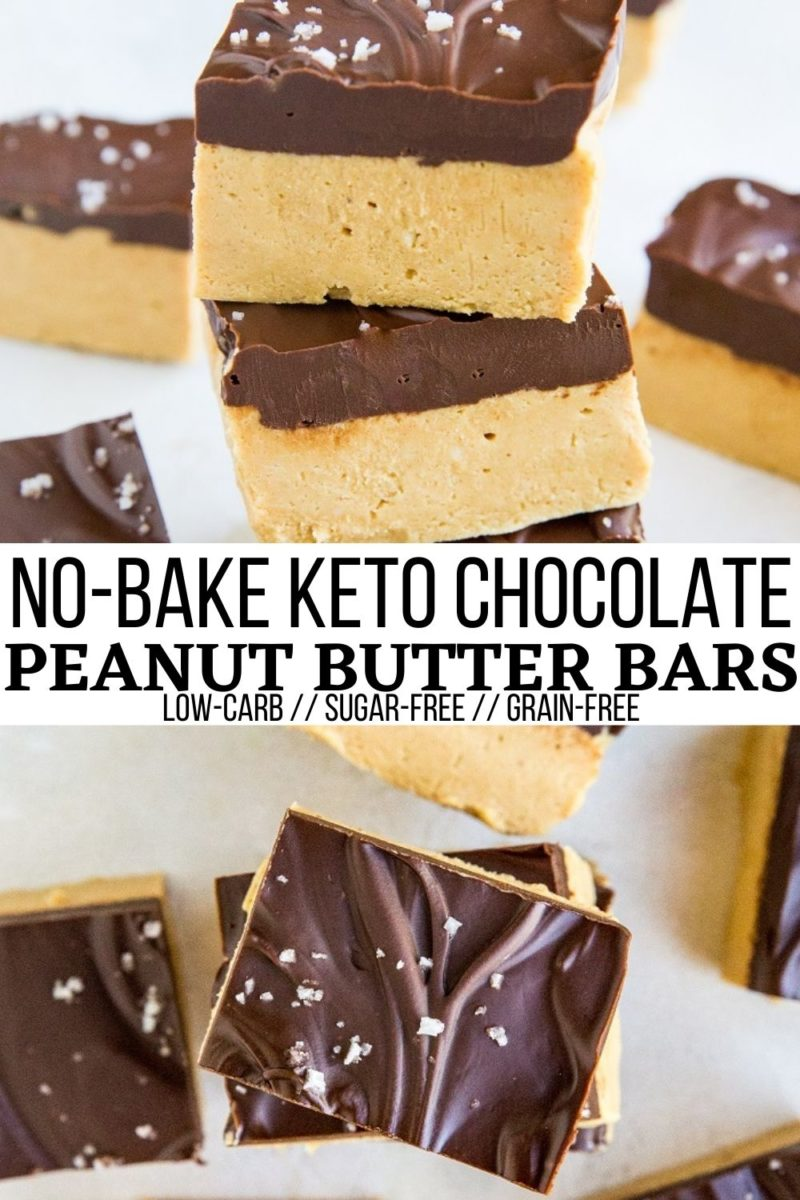 Keto No-Bake Chocolate Peanut Butter Bars made with only 5 ingredients! This easy sugar-free dessert recipe comes together in a few minutes and tastes just like a peanut butter cup!
