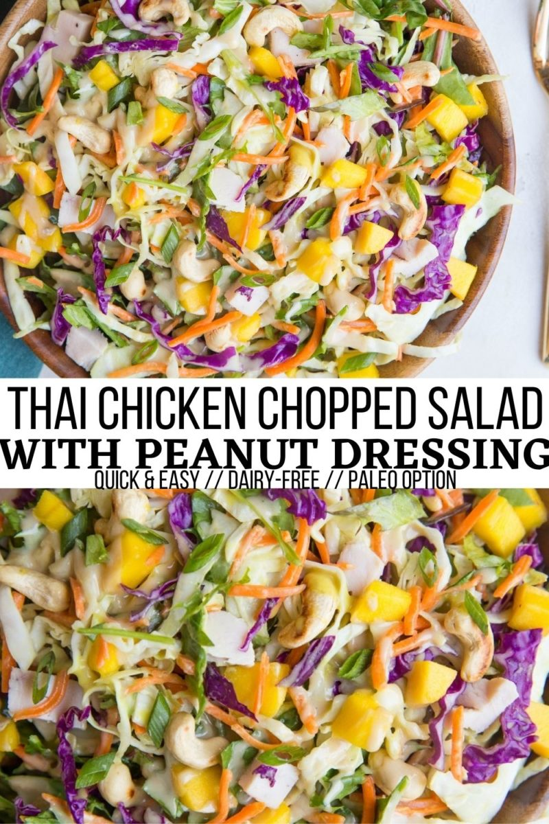 Thai Chicken Chopped Salad with peanut dressing is a light and refreshing meal. This healthy salad recipe is easy to throw together any night of the week and an excellent use for leftover chicken!