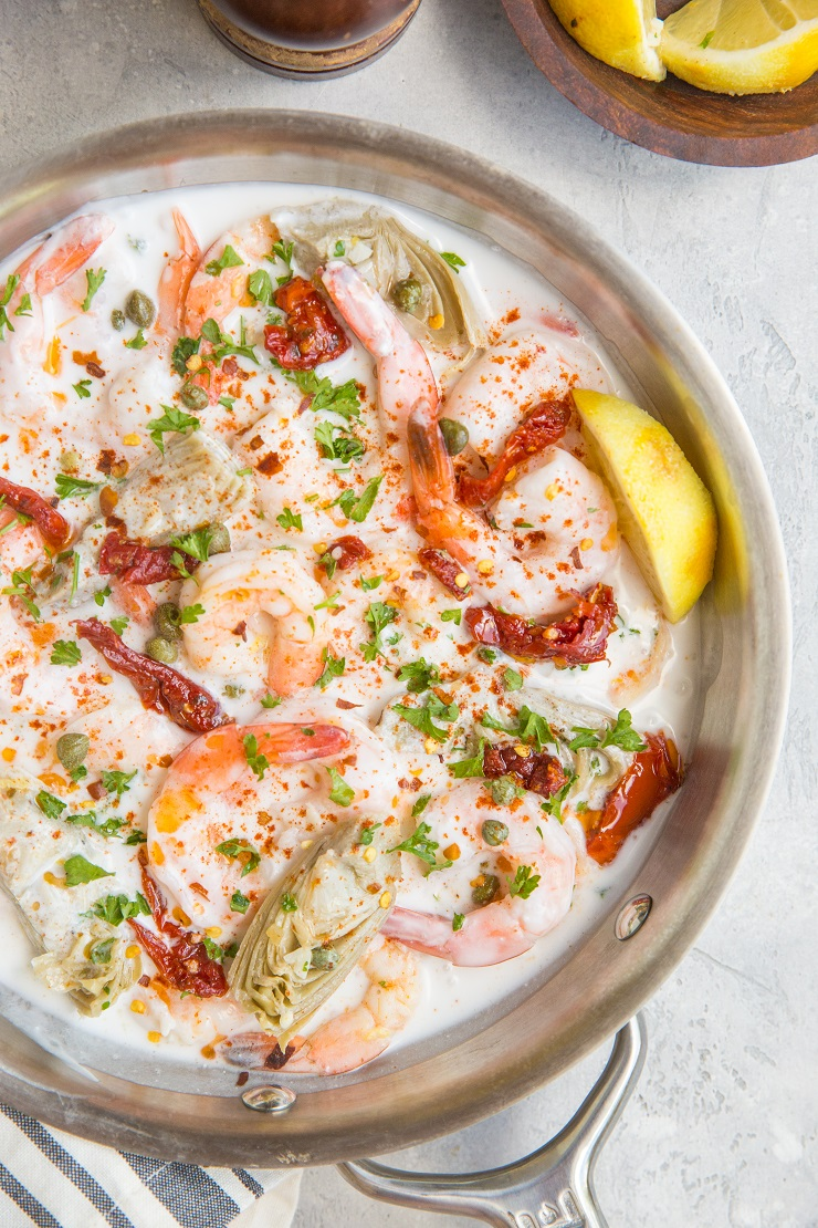 Tuscan Shrimp Recipe with delicious cream sauce is a magnificently flavorful main dish or side dish that is paleo, keto, and whole30