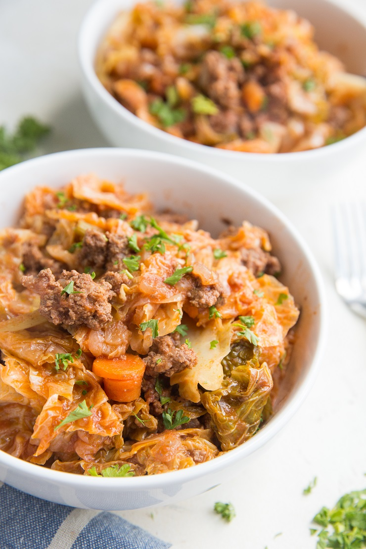 Unstuffed Cabbage Bowls are like deconstructed stuffed cabbage leaves with ground beef, tomato sauce, onion and more. A healthy paleo, keto dinner recipe