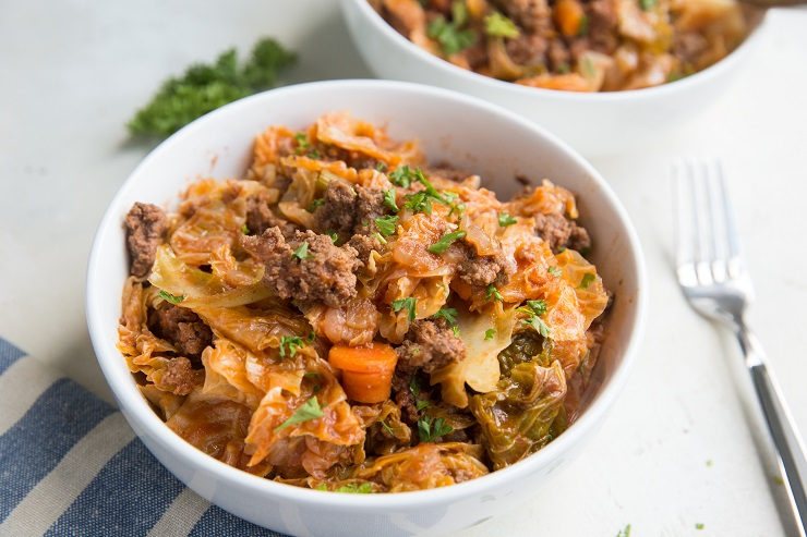 Keto Unstuffed Cabbage Bowls are like liked deconstructed stuffed cabbage rolls - ground beef, cabbage, onion, garlic and more!