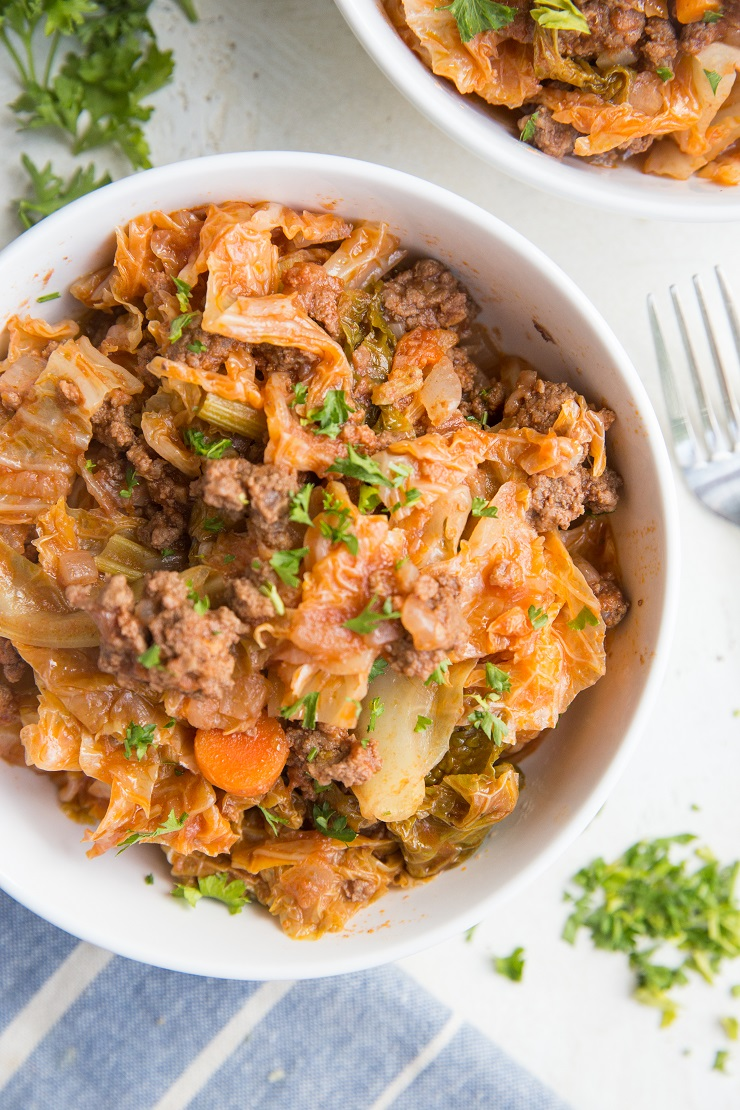 Easy One-Pot Unstuffed Cabbage Bowls with ground beef, onion, garlic, celery, tomato sauce, and more