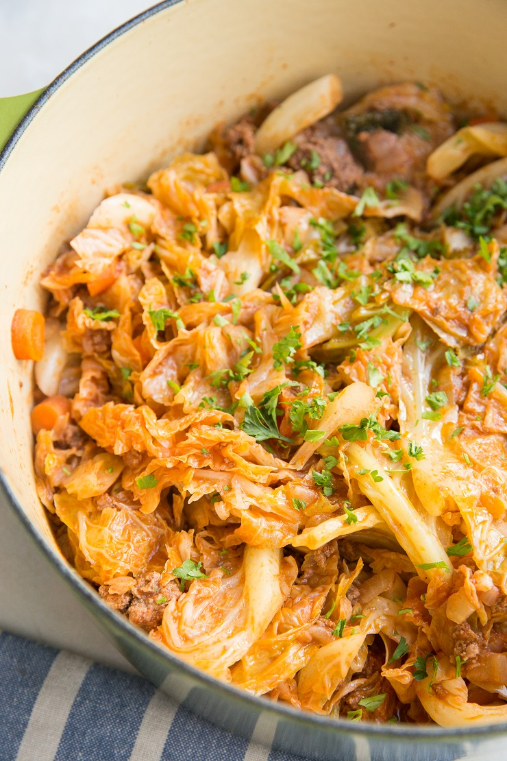 One-Pot Unstuffed Cabbage - deconstructed cabbage rolls with ground beef and tomato sauce, onions, celery, garlic and more