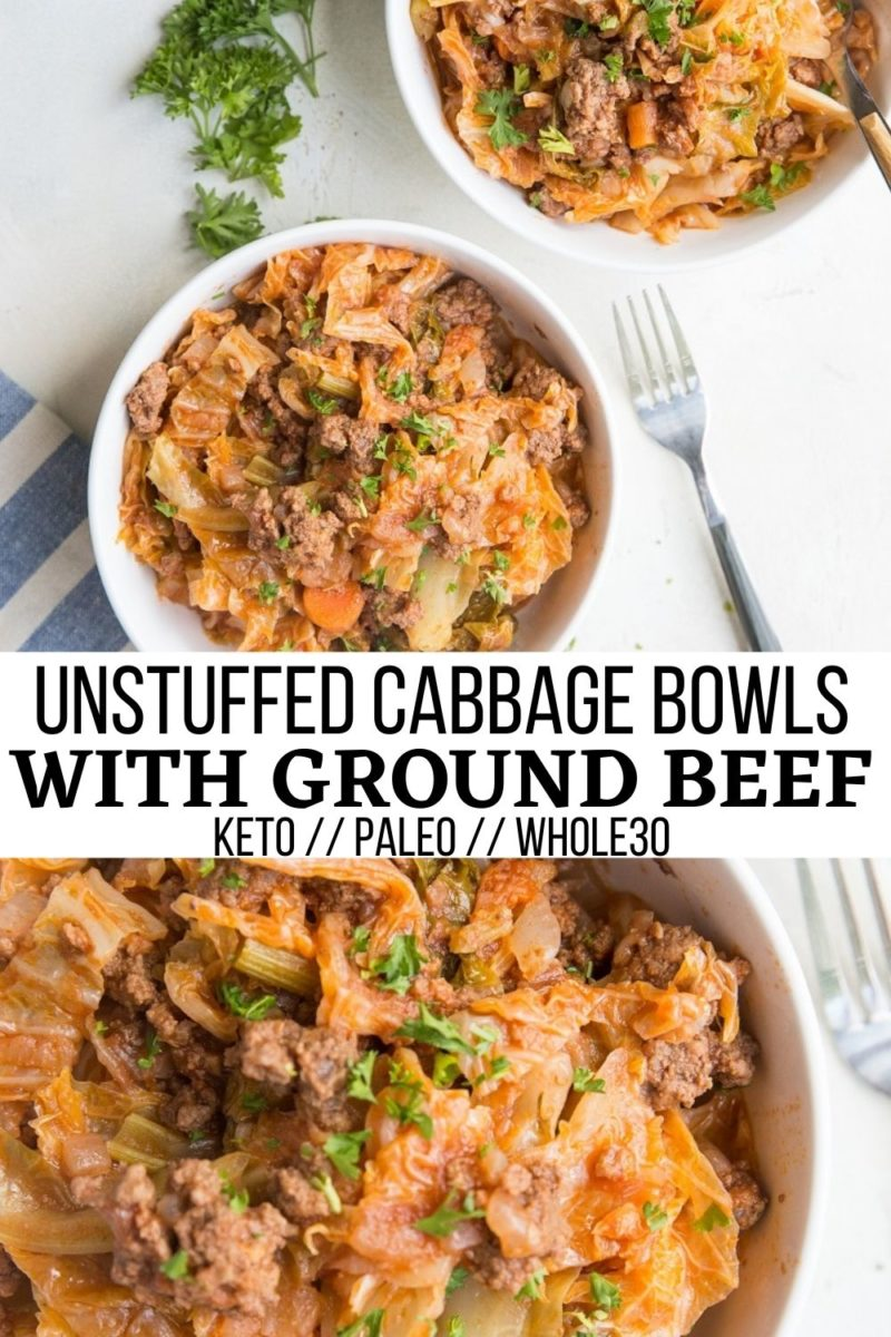 Unstuffed Cabbage Bowls made with ground beef, onions, tomato sauce, cabbage, and more! Paleo, keto, low-carb, whole30 healthy dinner recipe. Perfect for meal prep!