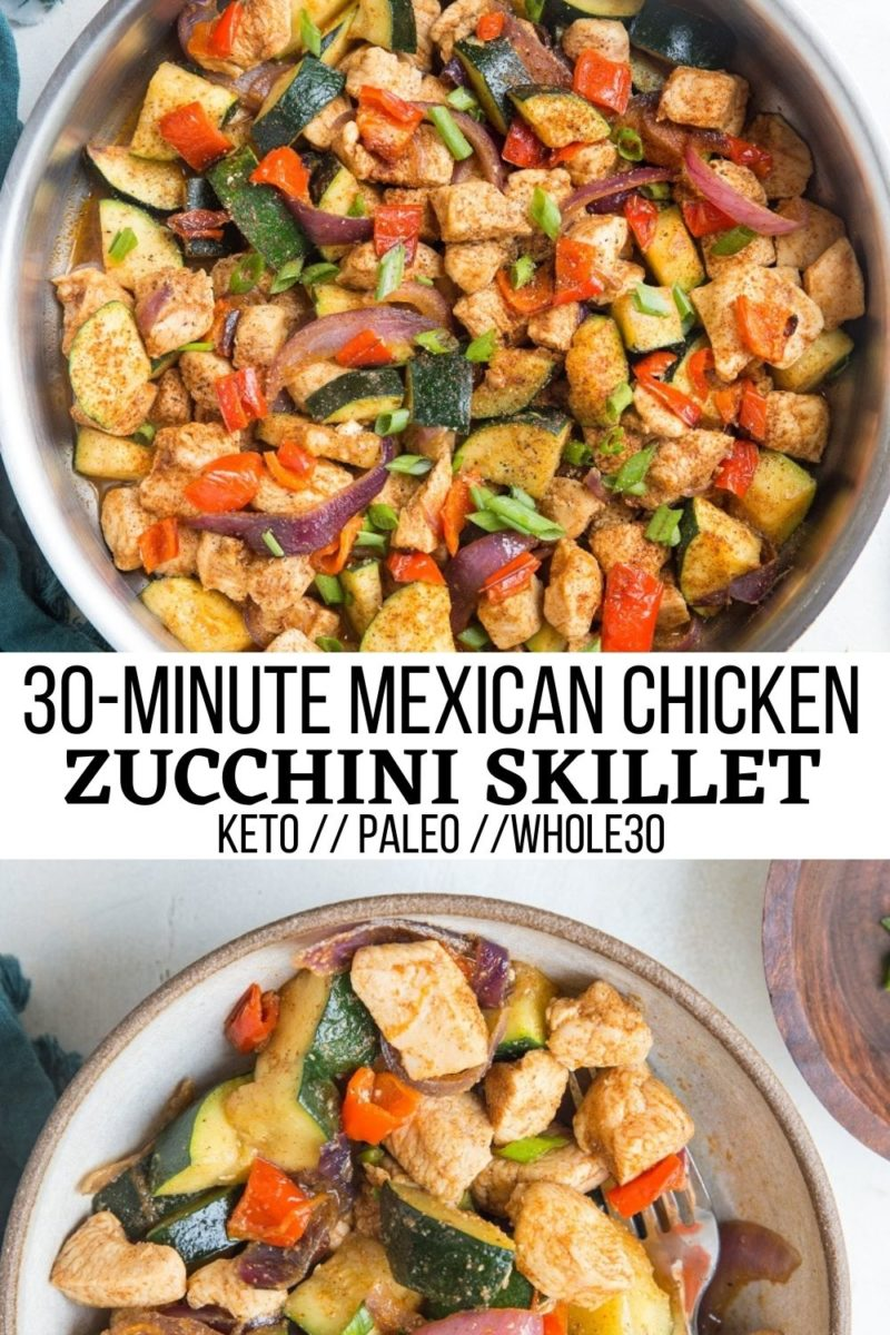 30-Minute Mexican Chicken and Zucchini Skillet - a healthy low-carb, paleo, keto dinner recipe loaded with flavor and easy to prepare!