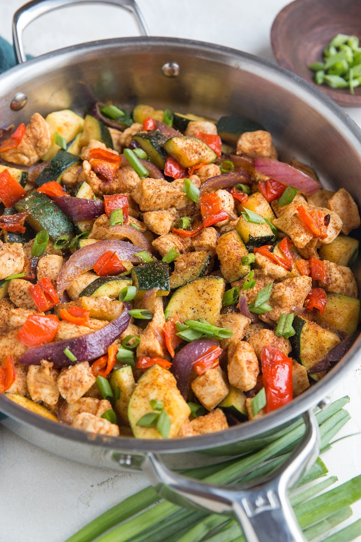 30-Minute Mexican Chicken and Zucchini Skillet is a healthy dinner recipe that comes together lightning fast and is ultra satisfying.