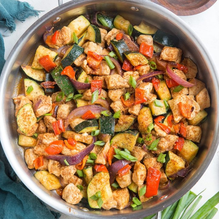 30-Minute Mexican Chicken and Zucchini Skillet couldn't be any easier to make and results in a nutritious, tasty meal! Simply toss everything in one skillet, cook, and you're in for a lovely lunch or dinner.