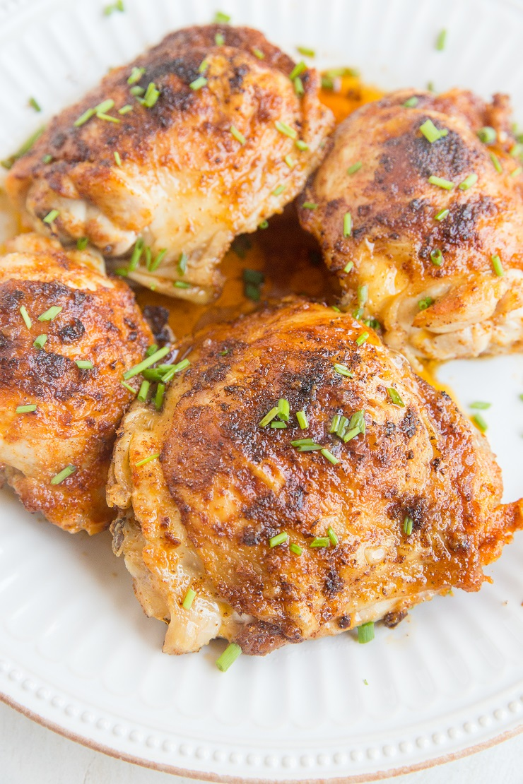 Air Fryer Chicken Thighs - a quick and easy method for making the most amazing crispy, tender bone-in chicken thighs!