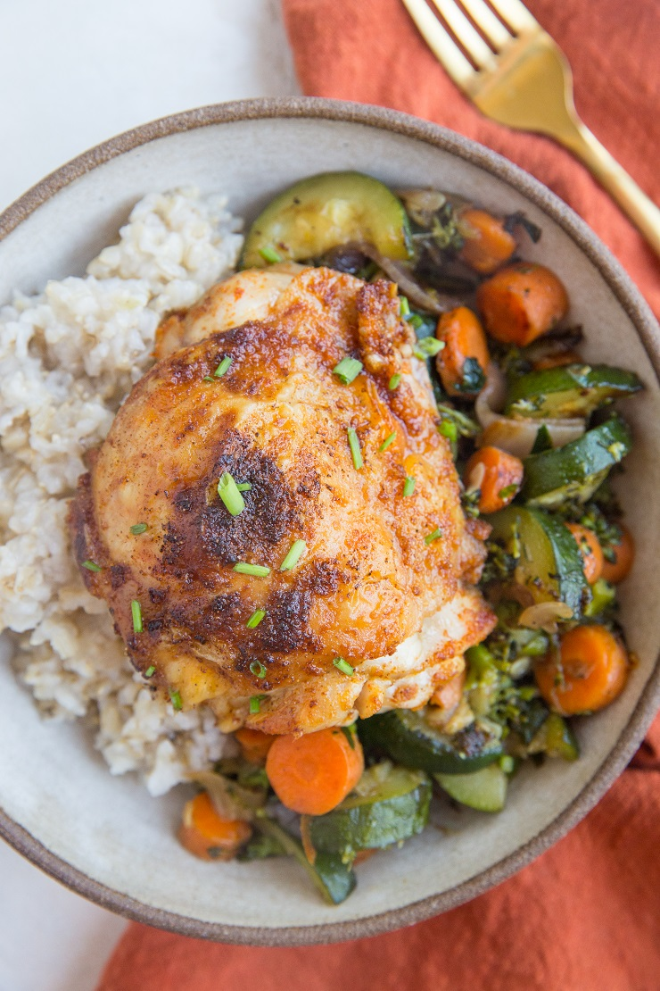 Air Fryer Crispy Chicken Thighs are easy to prepare and turn out magnificently crispy yet tender.