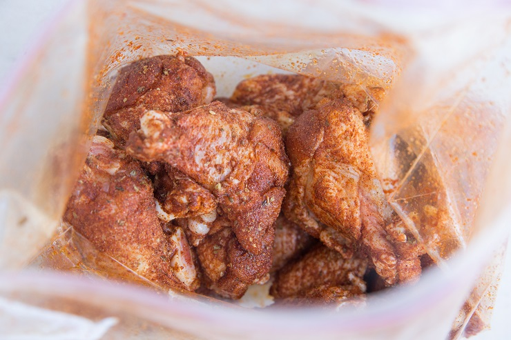 Shake all the ingredients for the wings in a zip lock bag