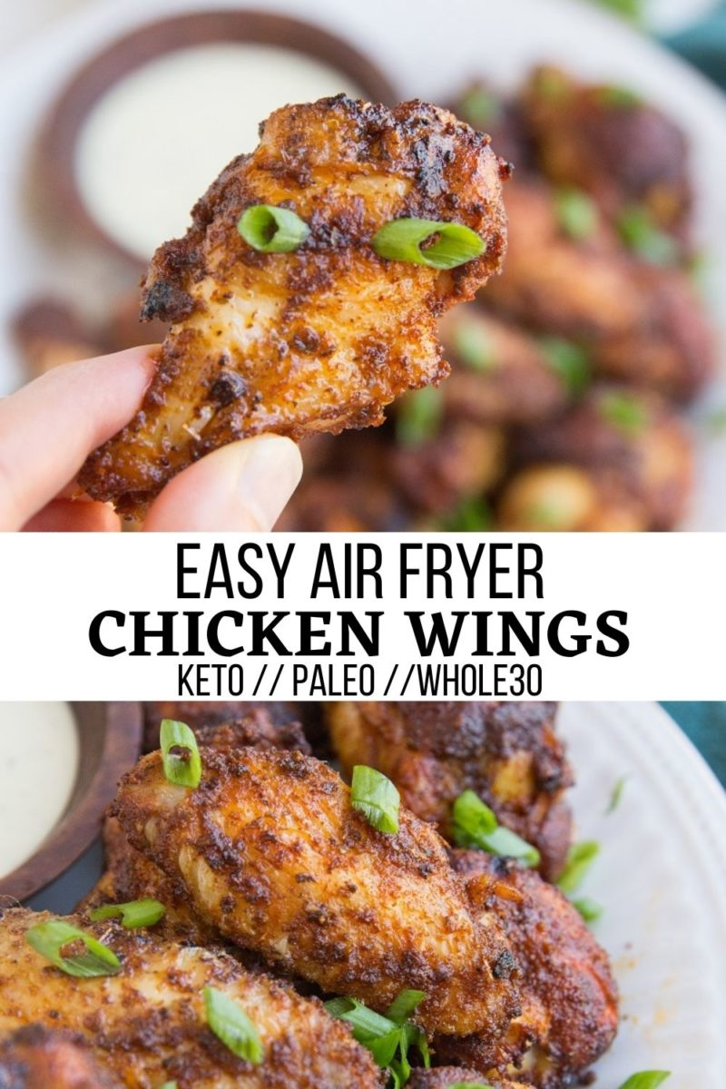 Easy Air Fryer Chicken Wings - perfectly crispy and tender chicken wings made fast in the air fryer. Paleo, keto, whole30
