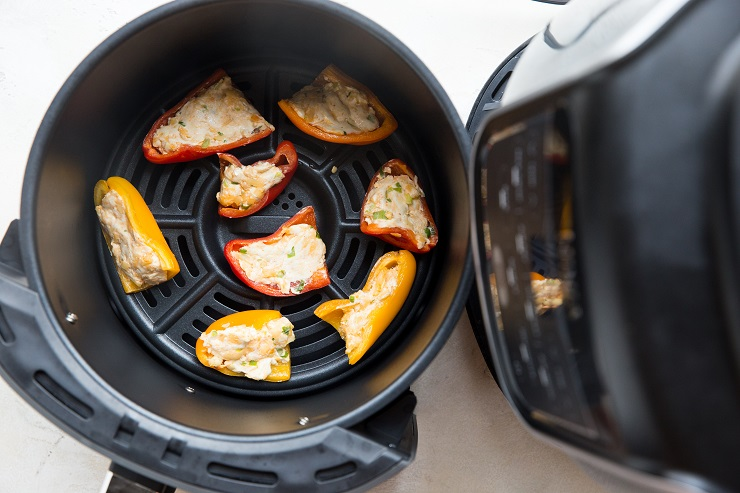 Bake the mini peppers in the air fryer