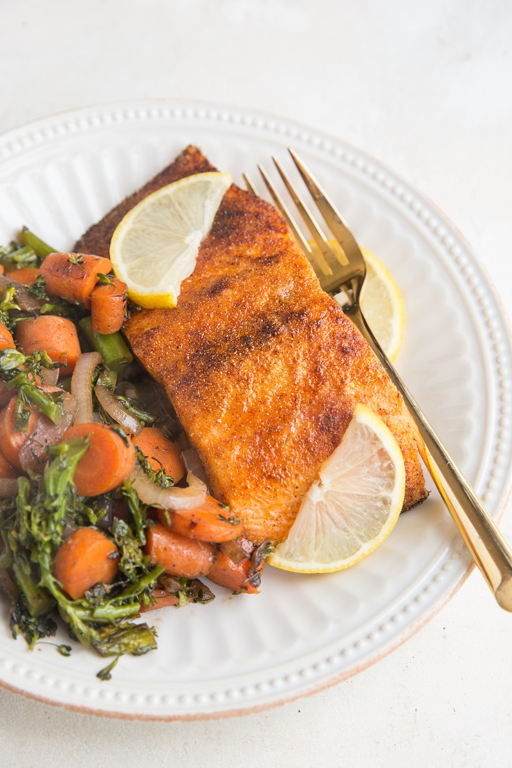 Crispy Air Fryer Salmon - amazing crispy salmon skin with a tender inside. A goof-proof method for cooking salmon!