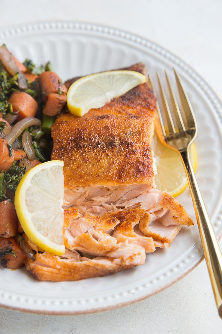Perfectly crispy yet tender Air Fryer Salmon is a healthy, delicious dinner recipe!