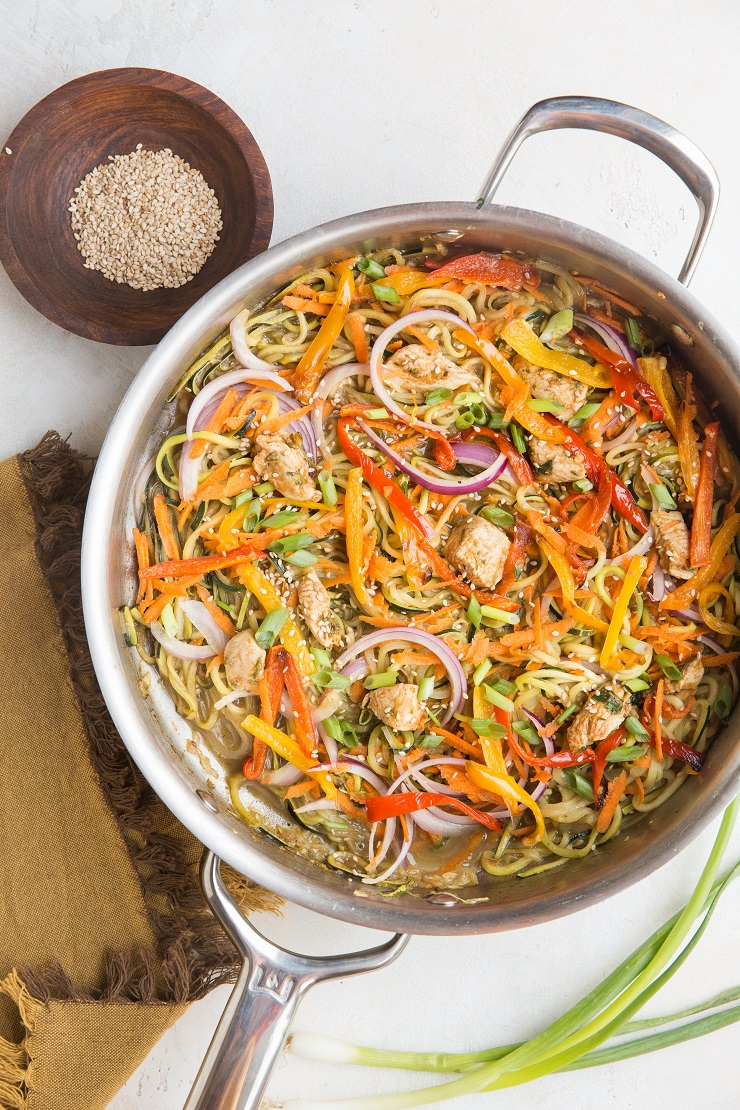 Chicken Chow Mein Zoodles - a low-carb version of chicken chow mein with zucchini noodles! Quick, easy, flavorful, amazing way to use up zucchini! Paleo, keto, whole30